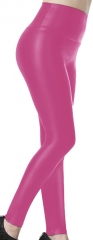 Hot Pink high-waisted PU Leggings