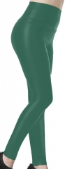 Green high-waisted PU Leggings