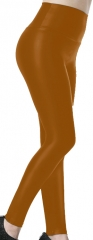 Gold Brown PU Leggings